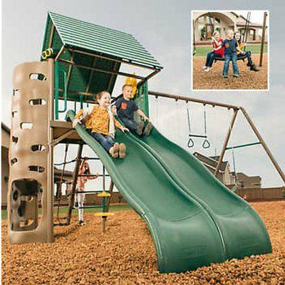 lookout double slide swing set clubhouse