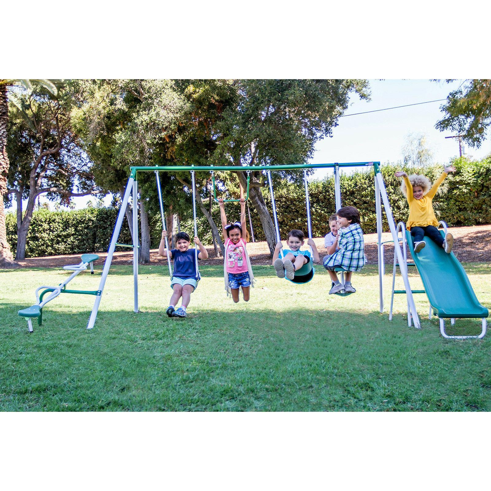 Metal Swing Slide Playground Outdoor Backyard Kid