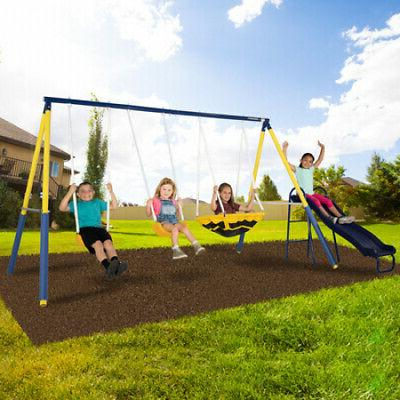 Sportspower Super Saucer Metal Swing Set with 2 Swings, Sauc