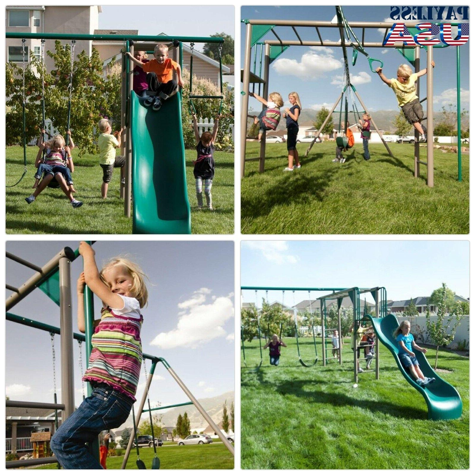 monkey bar adventure swing set with 9
