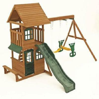 New Cedar Outdoor Playset Playhouse