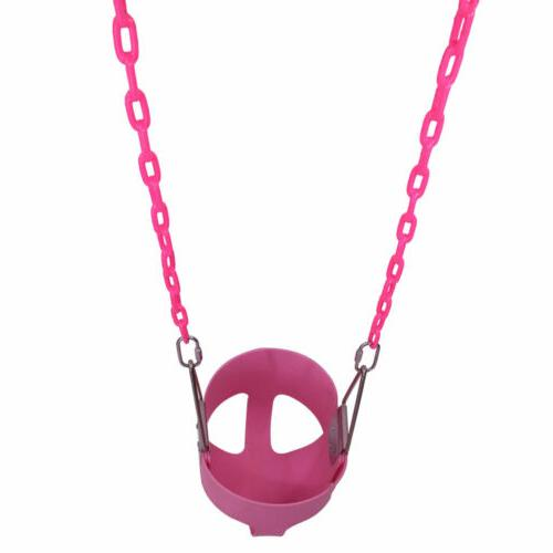 Outdoor Heavy Duty Full Bucket Swing Set For Toddler w/Chain Pink