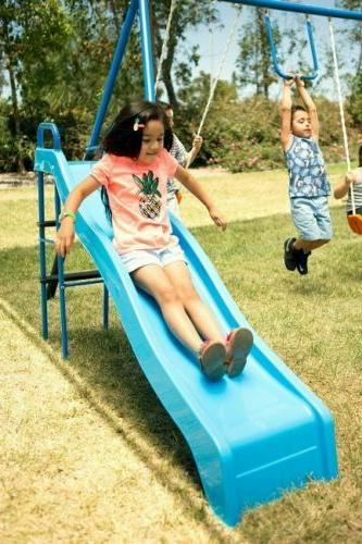 Outdoor Play Kids Double Swing Set For Backyard Playground Outside Slide Sets