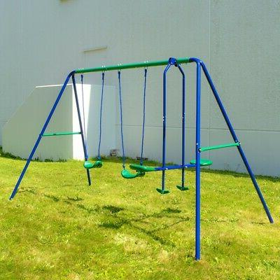 outdoor sturdy child swing set with 2