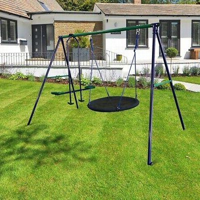 ALEKO Outdoor Swing Set with and Saucer Blue