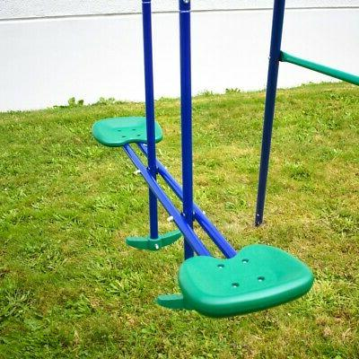 ALEKO Outdoor Sturdy Swing with and Saucer Mat Blue and Green