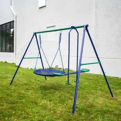 outdoor sturdy child swing set with glider