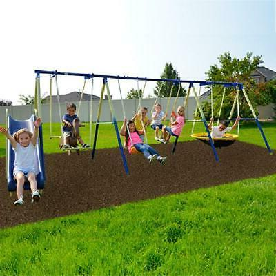 Outdoor Super 8 Kids Play Metal Swing Set Heavy Duty Slide S