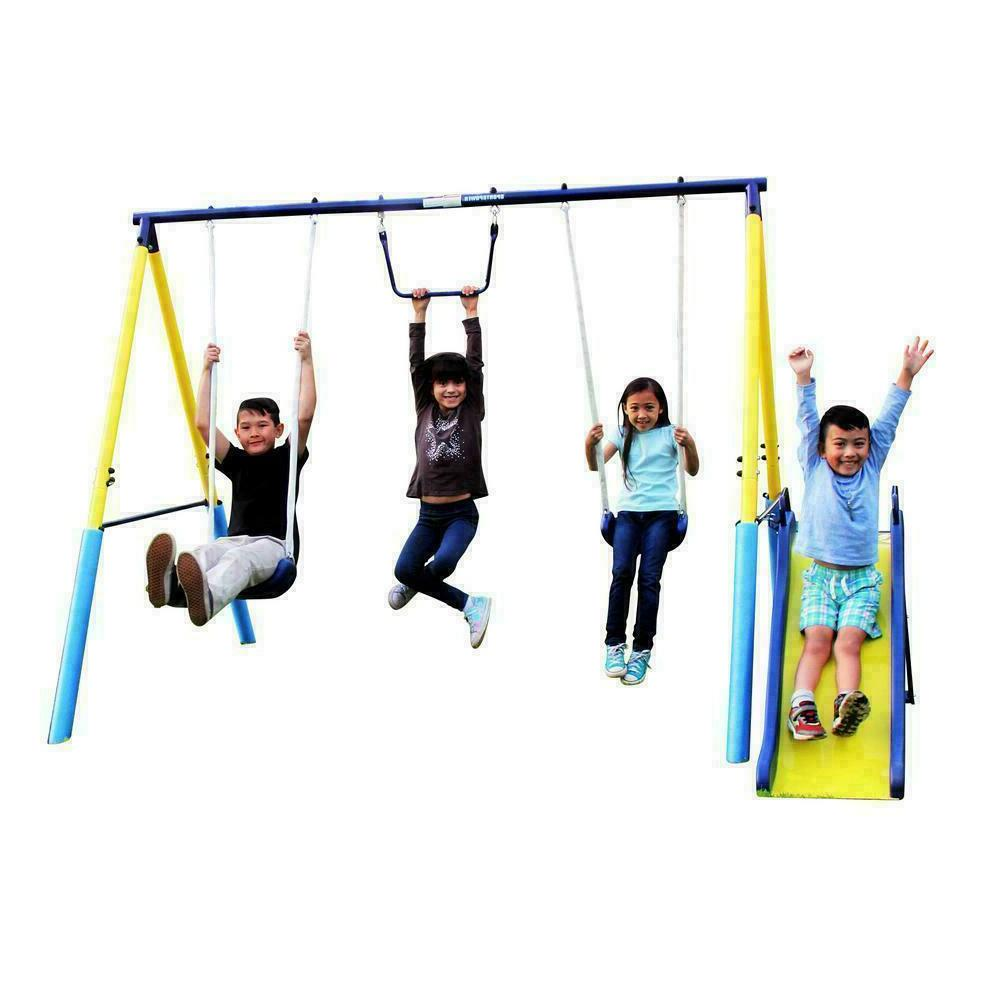 Outdoor Swing Set Metal Play Backyard Safety Seats Sport