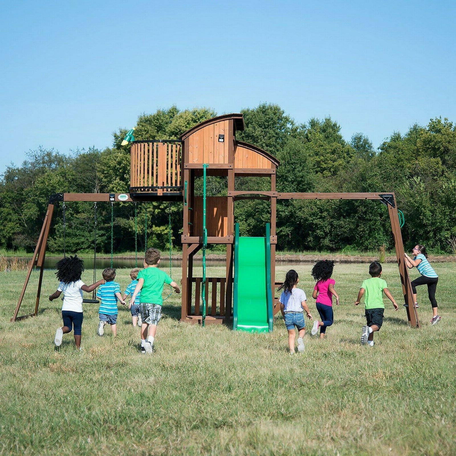 Outdoor Swingset Set Slide Tower Elite Clubhouse