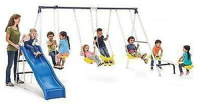 Swing Set Playground Metal Outdoor Play Slide Swingset Fun Playset