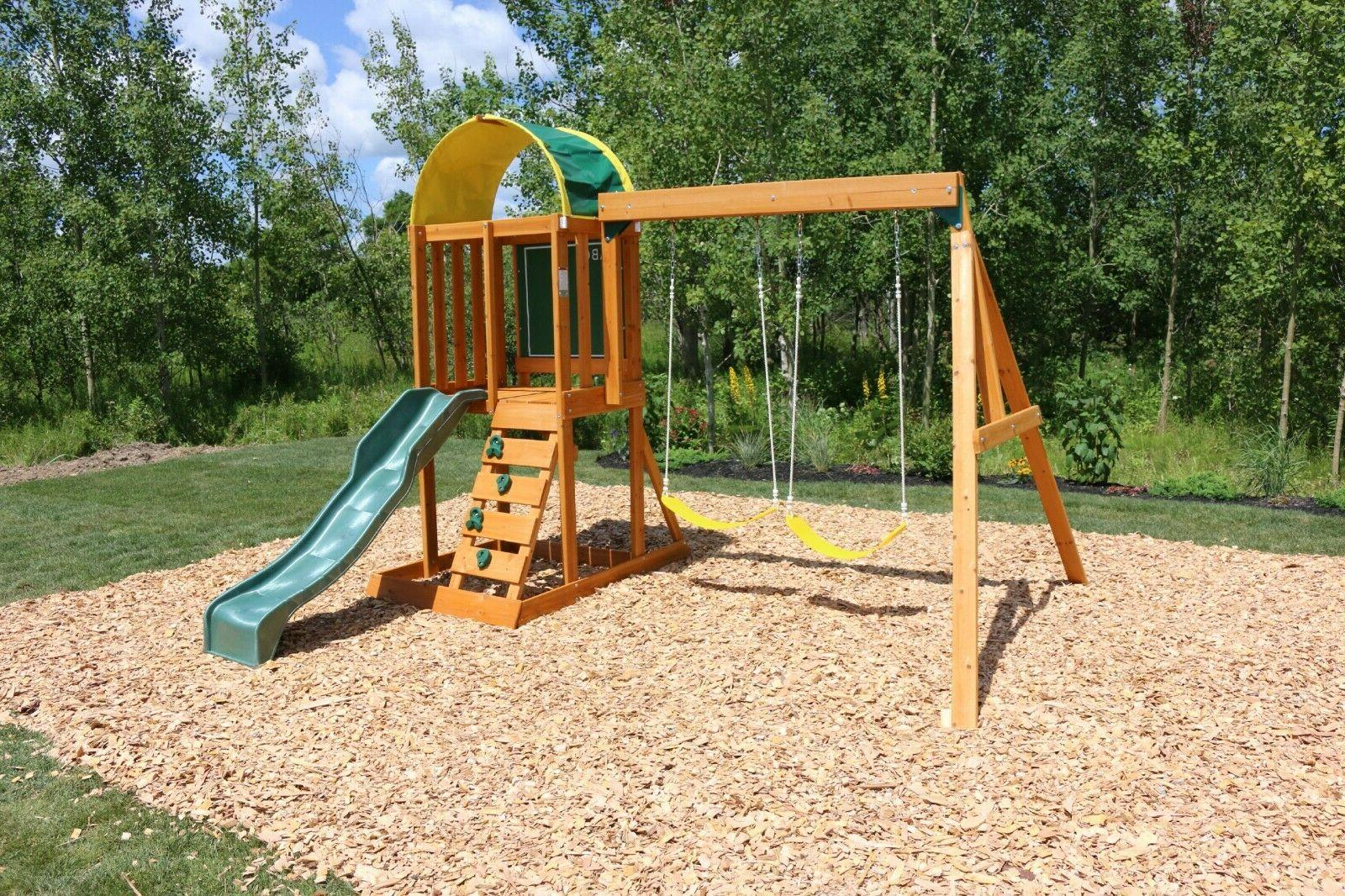 Playground Swing Set Wooden Playset & Clubhouse Kids