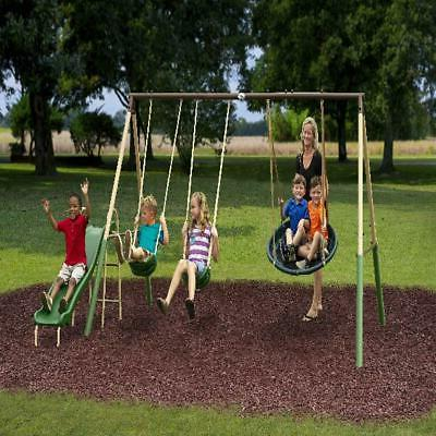 Metal Swing Set With Slide Super Disc For Kids Outdoor Playg