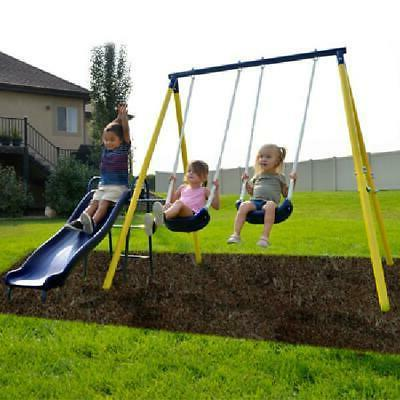 Metal Swing Set With 5 feet Slide Outdoor Backyard Playset F