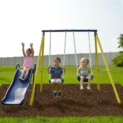 Power Play Time Metal Swing Set with 5ft Heavy Duty Slide an