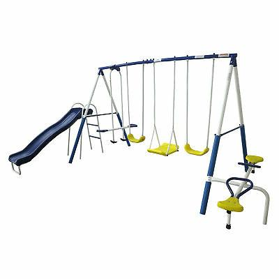 Swing Set Playground Outdoor Backyard Slide 6 Play Stations