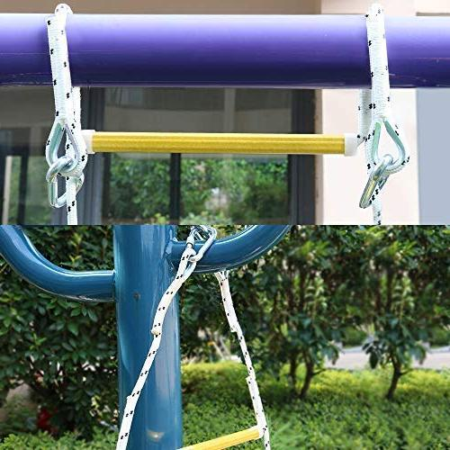 Xben Rope Ladder with 2 Hooks Kids and Game Set Accessories,Tree House, Playground, Set