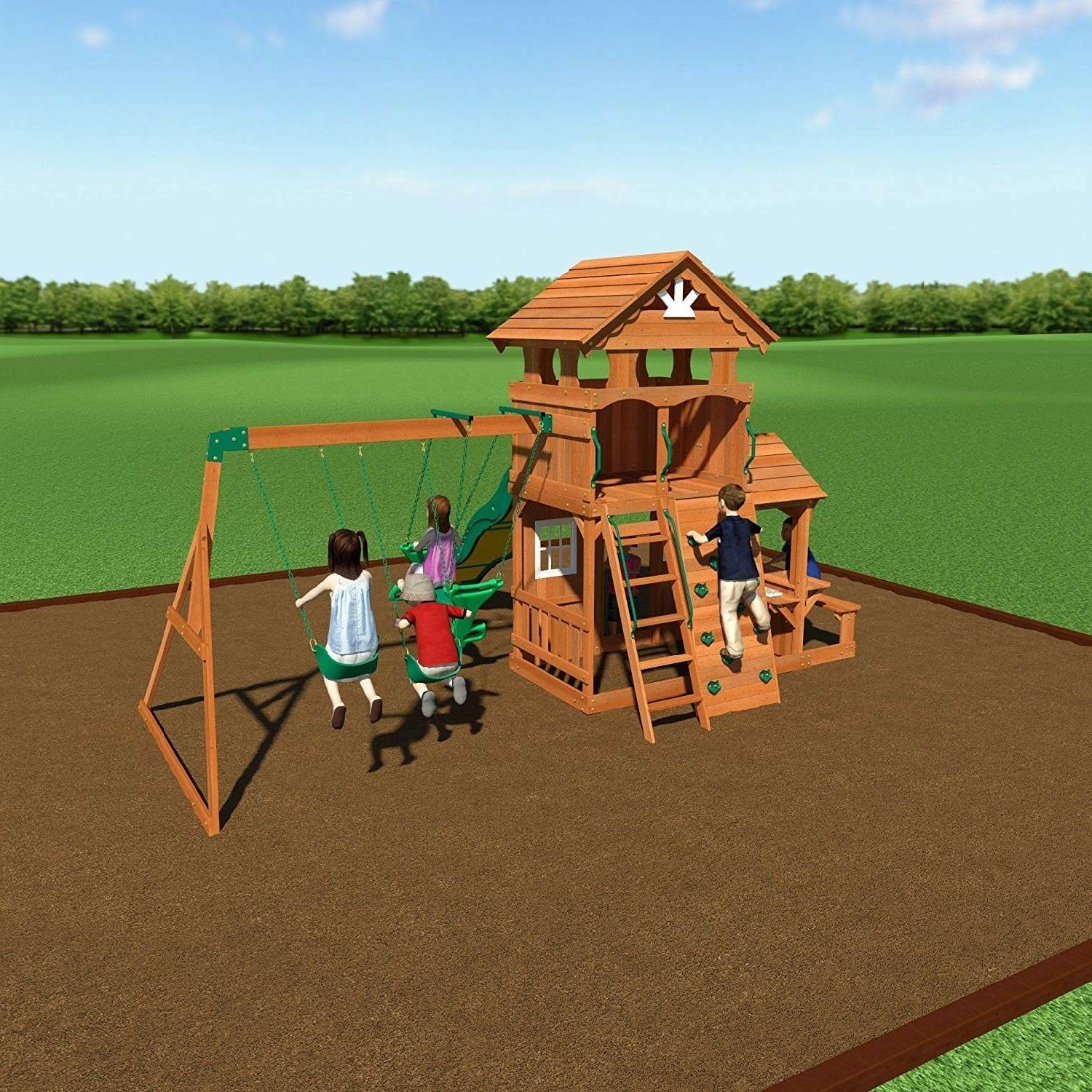 Backyard Cedar Wood Playset Set Xmas