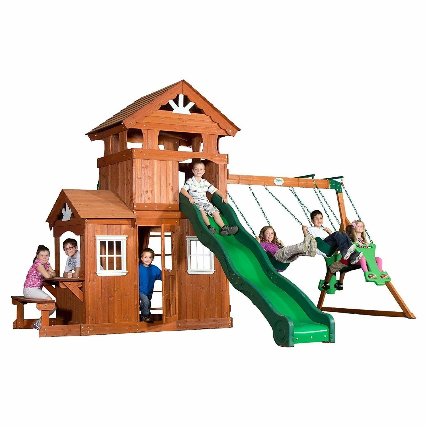 shenandoah all cedar wood playset swing set