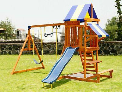 Swing Set Wooden Backyard Playset Outdoor Kid Children Play