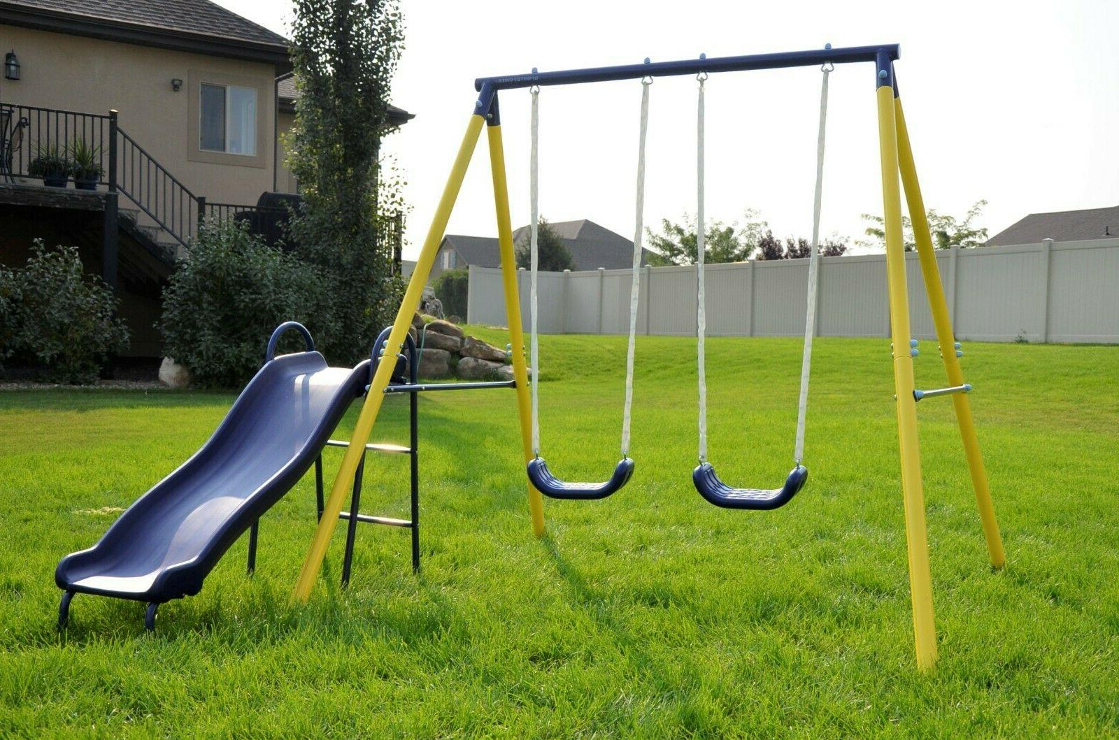 Fun Metal Swing Set Kids Slide Backyard Playset