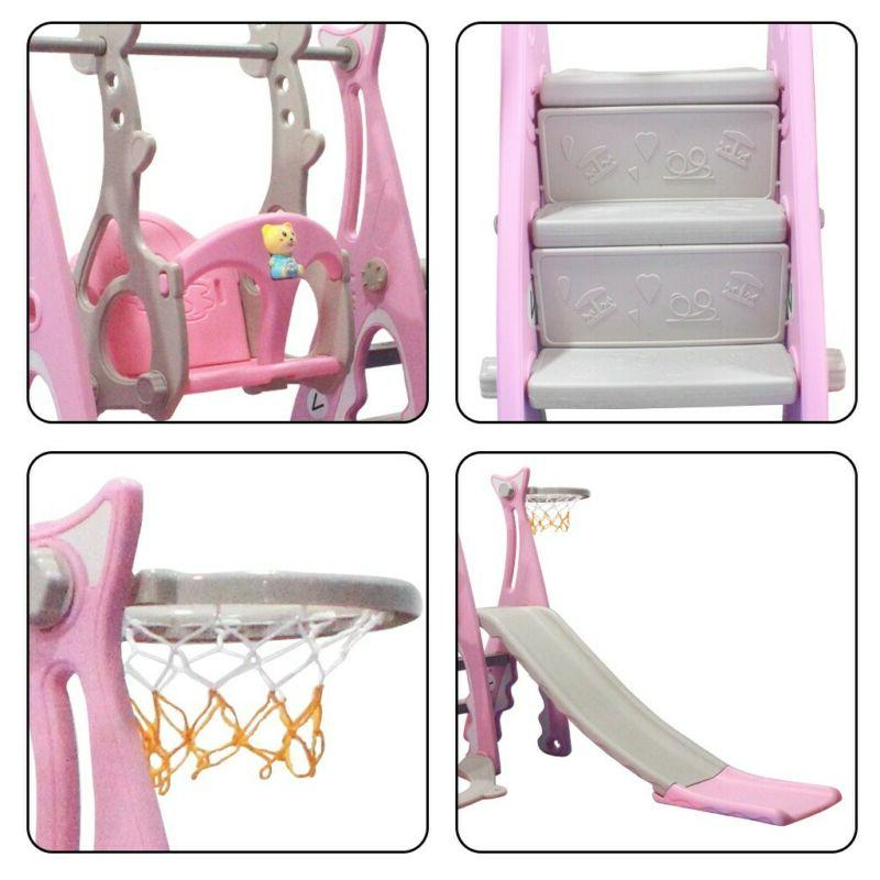 Toddler Climber And Swing Set 3 Climber Sliding Sets w/Basketball Hoop