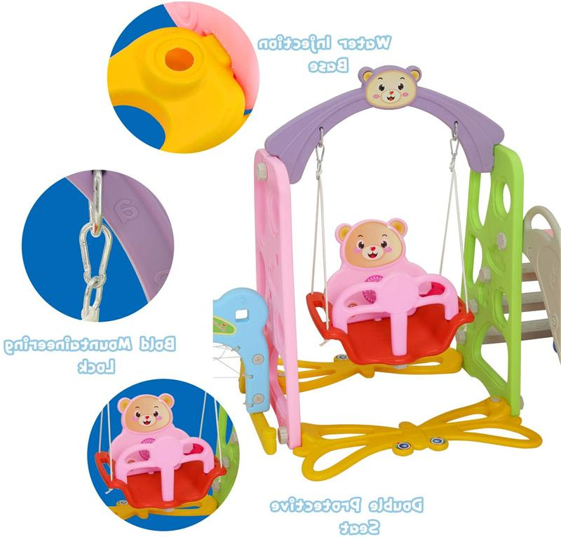 Toddler Swing Set Kids Slide Playset Playground Toy Hoop