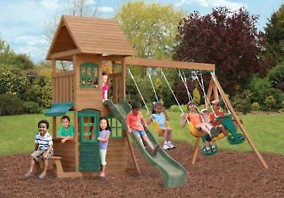 windale wooden cedar swing set outdoor playground