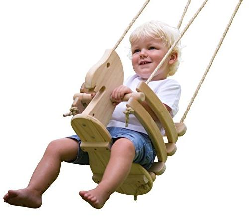 wooden horse toddler swing