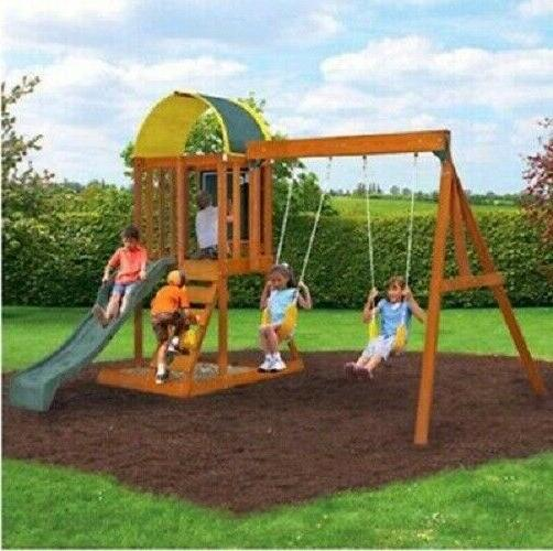 wooden swing set kids playground slide outdoor