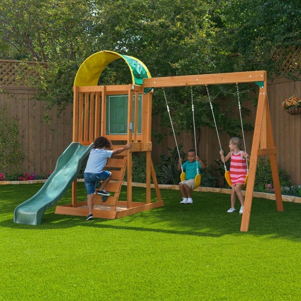 Wooden Swing Set Kids Slide Backyard Outdoor Play Toddler Ch