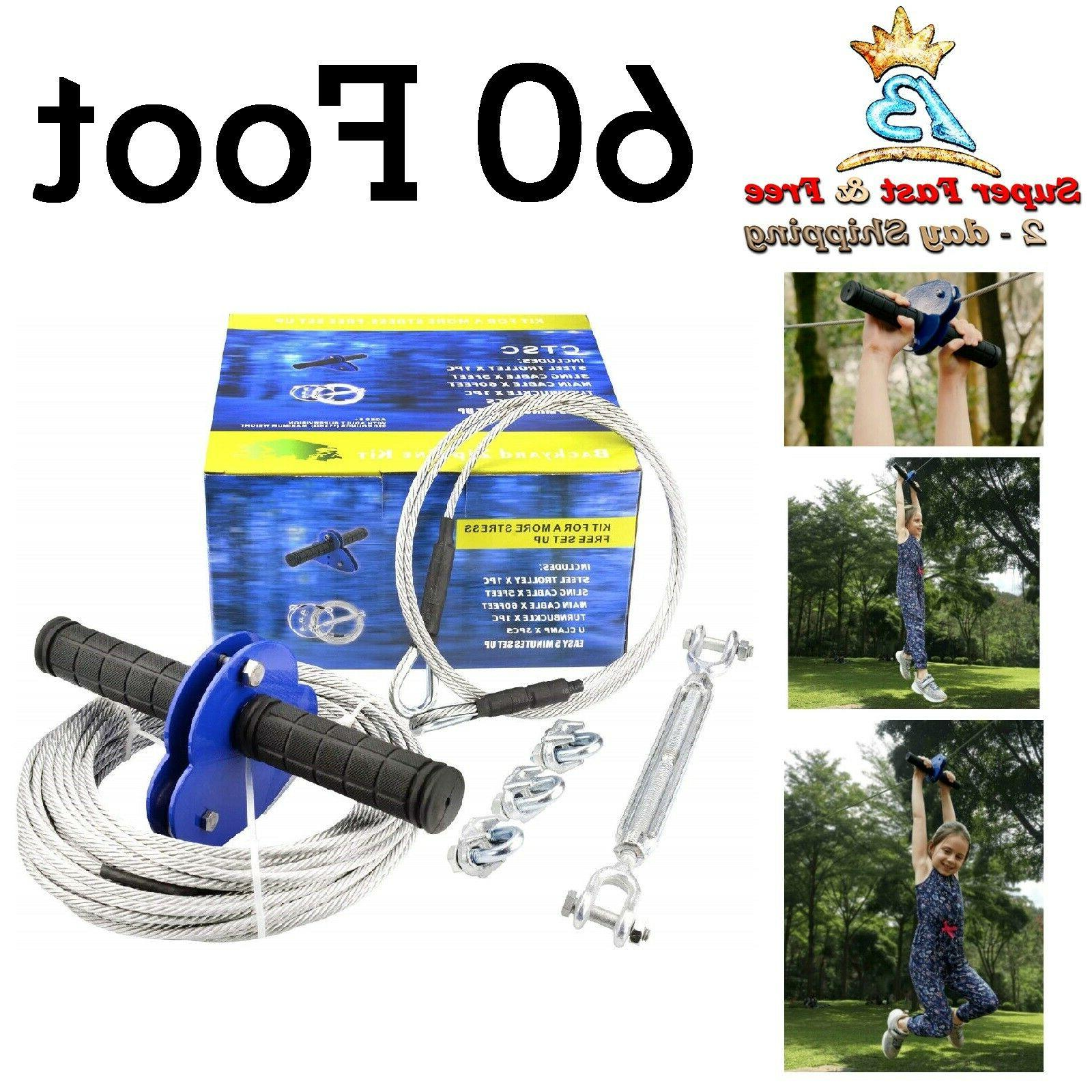 Zip Line Kit Kids Adult Outdoor Toys Backyard Game 60' Cable