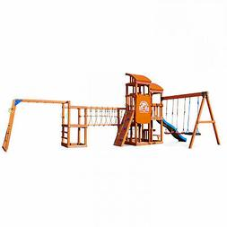 Large Wooden Swing Set Brown Wood Swingset with Slide Clubho