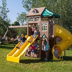 Cedar Summit Lookout Lodge 3 Slide Cedar Playset
