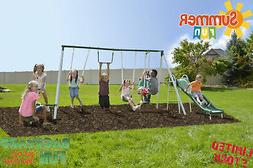 Metal Swing Set 6ft Heavy Duty Slide Swing Outdoor Super 8 k