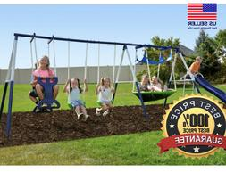 Metal Swing Set Playground Backyard Kids Outdoor Playset Sli