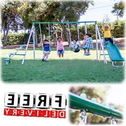 metal swing set slide playground outdoor backyard