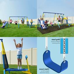 Metal Swing Set With Slide Outdoor Backyard Playset Fun Play