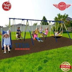 Metal Swing Set With Slide Saucer Glider Horse Outdoor Playg