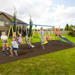 Metal Swing Set With Slide See Saw For Kids Outdoor Playgrou