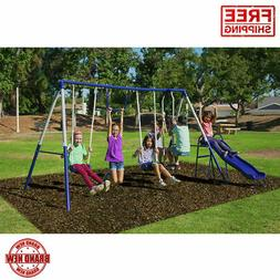 Metal Swing Slide Set Playground Outdoor Kid Child Fun Backy