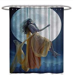 Moon Shower Curtains Waterproof Yellow Haired Woman on a Swi
