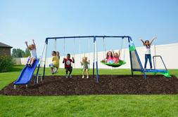 Sportspower Mountain View Metal Backyard Swing Set with Slid
