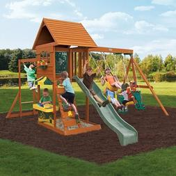 Multi-Level Design Sandy Cove Wooden Swing Set, Wooden Shipl