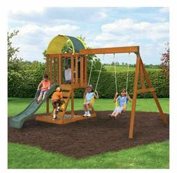 Multi-level Wooden Swing Set entertain 6 kids@once rock wall