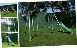 My First Metal Swing Set with Slide, Green/White