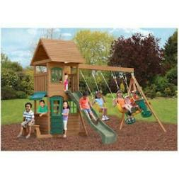 new backyard swing set cedar wooden outdoor