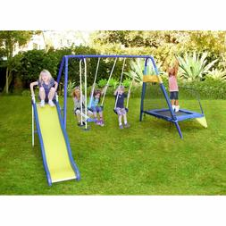 New Blue/Yellow Fun Metal Slide and Swing Set with Trampolin