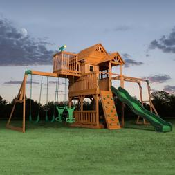 NEW Cedar Swing Set Playground Kids Play Set Swingset Wooden