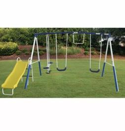 NEW XDP Recreation Play All Day Metal Swing Set with Wavy Sl